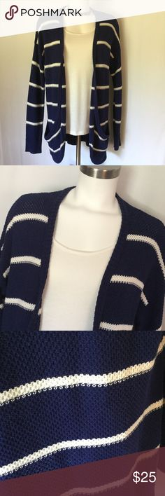 American Eagle Cardigan  American Eagle Cardigan in bright navy with cream / off white stripes. In great shape. Size Large. Long cardigan with pockets and open front. American Eagle Outfitters Sweaters Cardigans