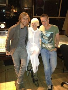 "David Guetta (@davidguetta): ""Making some Real crazy songs in the studio with @siamusic &@nickyromero"""