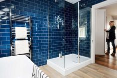 Loft conversion bathroom with blue tiles Clever interior design and bold colour has transformed this loft conversion into a stylish open-plan master suite Loft Bathroom, Bathroom Interior, Master Bathroom, Bad Inspiration, Bathroom Inspiration, Bathroom Ideas, Bathroom Designs, Master Suite, Contemporary Bedroom
