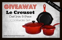 Giveaway!! Le Creuset Signature Cast Iron 5-Piece Cookware Set ($400 Value) | The Mommypotamus | organic SAHM sharing her family stories and recipes