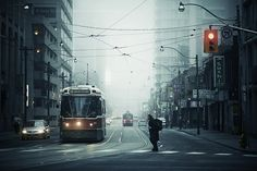 a foggy morning in downtown Toronto