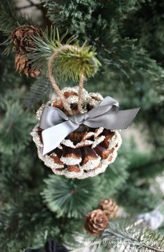 Glass Glitter Pine Cone Ornaments - making it in the mountains