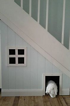Rabbit House under the stairs - this is so super cool, I want to move to somewhere with stairs!