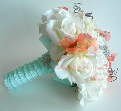 Coral, Cream and Soft Aqua Bridal Bouquet with Real Touch Roses-