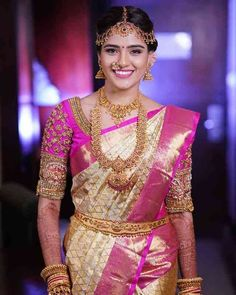 Designer Cream Color Waving Work Soft Silk Saree There are different rumors about the real history of the marriage dress; Lehenga Designs, Wedding Saree Blouse Designs, Half Saree Designs, Saree Wedding, Tamil Wedding, Wedding Gold, Wedding Wear, Dream Wedding, Bridal Sarees South Indian
