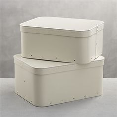 """Bigso® Ivory Rectangular Storage Boxes Set of Two, 15.7""""Wx11.8""""Dx7.4""""H large, and 15""""Wx11""""Dx6.5""""H small. $18"""