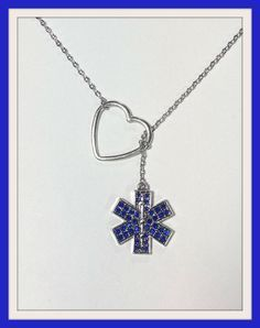EMT, EMS, Paramedic Lariat Necklace with Rhinestones and Heart, handmade jewelry, pendant