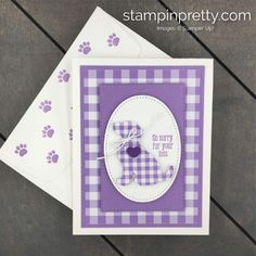 Learn-how-to-create-this-Gingahm-Gala-Card-using-the-Happy-Tails-Bundle-by-Stampin-Up. Pet Sympathy Cards, Mary Fish, Stampin Pretty, Dog Cards, Animal Cards, Pretty Cards, Card Maker, Flower Cards, Greeting Cards Handmade
