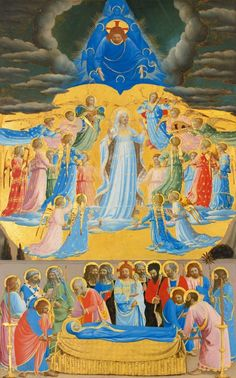 """Fra Angelico (Italian, about 1400-1455), """"The Death and Assumption of the Virgin"""", 1430-1434. Tempera on panel, 61.8 x 38.3 cm (24 5/16 x 15 1/16 in.). Isabella Stewart Gardner Museum, Boston (P15w34)."""