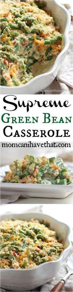 Supreme Gluten-Free Green Bean Casserole from momcanihavethat.com. #GlutenFreeChristmas, #GlutenFree