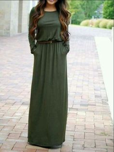 51428d5ab4a This maxi dress has long sleeves   comes with a dark braided belt. Soft    Stretchy Material (NOT Side pockets to each side and an Elastic waist.