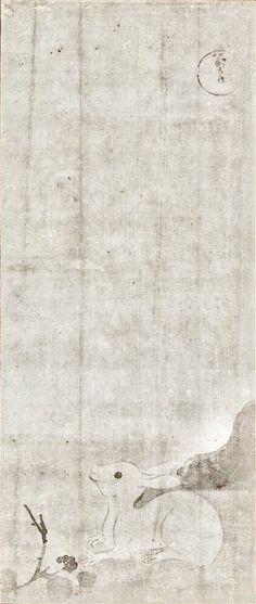 Hare or Rabbit. Tawaraya Sotatsu. Japanese hanging scroll. Seventeenth century. Tokyo National Museum. 禽獣梅竹図 作者: 俵屋宗達 時代: 江戸時代_17c 数量: 4幅