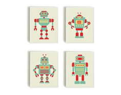 60.00$ - Set of 4 pieces, Baby Art Print,Robot Print, Room Decor,Nursery Decor,Nursery Wall Art, Children's Wall Art, Playroom Decor, Retro Robot,