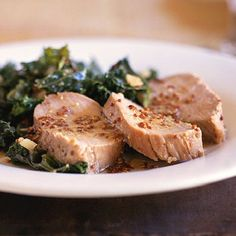 Honey Mustard Pork and Kale.    My first try cooking fresh Kale (my adaptation noted here) and it was delish!  I'll try the Honey Mustard Pork next time.  6 cups torn kale,  Knorr Homestyle chicken stock (small pkg), plus 1/4 c. water, 1/2 tablespoon stone-ground mustard, 1/2 c. diced onions.  Saute covered on Med 8-min turning frequently.