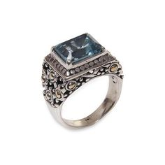 NOVICA Balinese Blue Topaz Statement Ring with Gold Accents (300 BRL) ❤ liked on Polyvore featuring jewelry, rings, blue, single stone, novica jewelry, novica, blue topaz jewelry, cocktail rings and blue topaz rings
