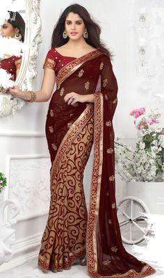 Beige And Maroon Georgette Half N Sari Price Usa Dollar 81 British Uk