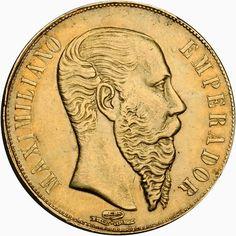 Mexican Gold Coins 20 Pesos 1866-MO Emperor Maximilian I