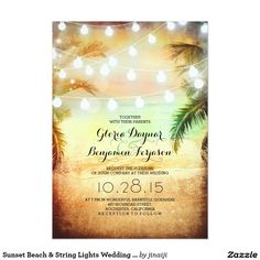 "Sunset Beach & String Lights Wedding Invitation 5"" X 7"" Invitation Card"