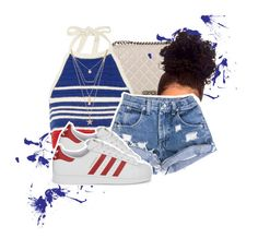"""""""4:43 PM"""" by v-iews ❤ liked on Polyvore featuring Chanel, Vika Gazinskaya, Forever 21 and adidas Originals"""