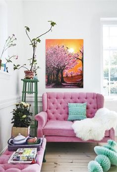 Please contact me for shipping cost  Processing time: 1-3 days (if you need early please refer it)  Title: CHERRY BLOSSOM  Painter: Abira Bose  Color: Pink, orange colors  Material: high quality acrylic paint, gallery wrapped canvas STRETCHED, varnish, brush  Size: 16 x 20 inch(40.64 x 50.8 cm or from drop down options)  Style and nature: Contemporary painting, landscape painting, nature painting ,abstract painting, acrylic painting wall art, modern painting, wall decor canvas art
