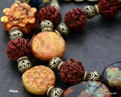 Flower Mela - Kuchi Pendant and polymer clay beads - Tribal Bling from Caprilicious Jewellery