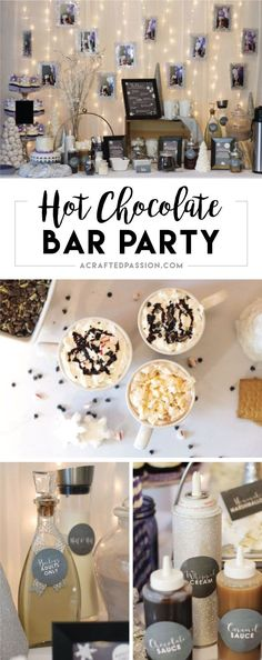 A Winter Wonderland Hot Chocolate Bar | Such a cute idea! Complete with FREE chalkboard labels and DIY hot chocolate bar ideas.
