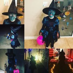 My little cute...oops I mean scary witch! Lol..my cute scary witch. She was so excited tonight! She loves Halloween! She says its her favorite thats cool because its mine too! #halloween #scary #fun #night #boo #happyhalloween #witch #witchingaround #loveher #mygirl