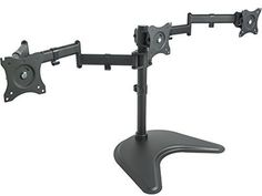 "VIVO Triple Monitor Mount Fully Adjustable Desk Free Stand for 3 LCD Screens upto 27"" (STAND-V003P)"