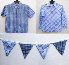 "Boys' shirts repurposed into cute ""boy"" bunting!"