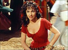 1831: Victor Hugo introduces sixteen-year-old Esmeralda in The Hunchback of Notre Dame. The lovely gypsy street dancer has been portrayed on screen by Maureen O'Hara, Gina Lollobrigida (above), and Salma Hayek.