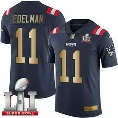 ... New Mens Patriots 11 Julian Edelman Navy Blue Super Bowl LI 51 Stitched  NFL Limited Gold ... 57aaa976f