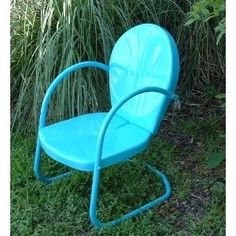Turquoise Retro Metal Lawn Chair
