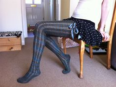 DIY: Anne Marie Thigh-High Knit Stockings ---- Make in solid colors. ---- #socks