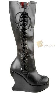 Stiefel Keilabsatz 12,7cm Leder Damen Schnürung Schwarz Apropos