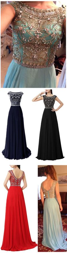 DIYouth.com Beading Red Chiffon A-Line Long Prom Dress Sexy Open Back Elegant Evening Gown,prom dresses blue,beaded homecoming dresses,backless evening dresses,2015 hot sale long chiffon prom dress with floral beading pattern, A-line prom dress, navy blue prom dress, cap sleeve prom dress #prom #evening #party #event