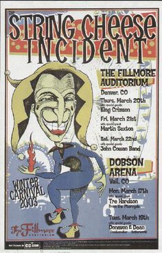 Original concert poster for the String Cheese Incident at the Fillmore in Denver, CO. 11 x 17 on thin paper. Signed by artist Tommy Faulkner      List Price: $35.00
