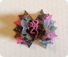 Stacked Pink Browning & Camo Boutique Bow - Hunting Mossy Oak Camoflauge on Etsy, $7.00