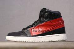 The Air Jordan 1 has transformed to one of the most versatile sneakers and has been seen from the basketball court to the runway. The latest edition comes in a premium way, with upscale material and shiny leather as well as a contrasting red stripe. A large red block has been painted on each side panel over the Swoosh, hence the Defiant moniker. To add to the retro feel, the pair sits atop a cream-colored midsole. Air Jordan Sale, Jordan Shoes For Sale, Jordan 13 Black, Jordan 1 Retro High, Kevin Durant Shoes, Jordan Model, Nike Zoom Kobe, New Year Deals, Nike Air Force Ones