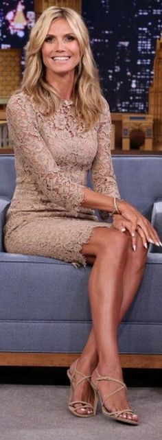 Heidi Klum, nude scallop lace dress and tan sandals