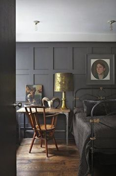 Wall paneled bedrooms love it!!!! the grey is amazing