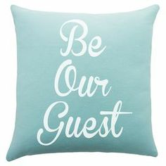 """Add a welcoming touch to your guest room or den with this handmade cotton pillow, showcasing a charming typographic motif.   Product: PillowConstruction Material: CottonColor: Blue and whiteFeatures:  Handmade by TheWatsonShop.Zipper EnclosureMade in the USA Dimensions: 16"""" x 16"""""""