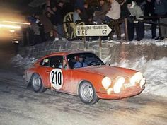 Porsche 911 Number 210 driven by Vic Elford and David Stone to win the 1968 Rallye Monte Carlo.