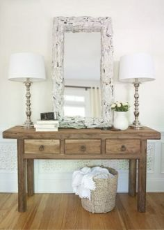 perfect entry way table, sans one lamp and add different mirror and I'm sold on the look http://myshabbychicdecor.com