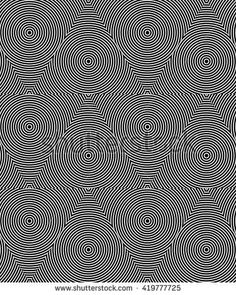 Black and white hypnotic background. Abstract geometric seamless black and white illusion texture on hypnotize pattern background in vector. Monochrome line art texture
