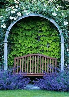 Garden bench beneath an arch a wall of green plants and above an arbor of white flowers and in front of the bench purple flowers and green grass