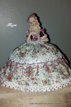 Porcelain Half Doll Pincushion Dresser by leesvintagetreasures, $65.00