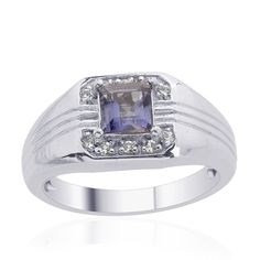 Liquidation Channel | Iolite and White Topaz Men's Ring in Platinum Overlay Sterling Silver (Nickel Free)