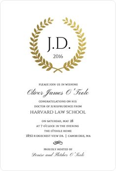 16 law school graduation invitation wording ideas school grad gold foil formal wreath law school graduation invitation stopboris Images