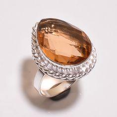 Pretty Faceted Citrine Quartz .925 Silver Handmade Ring Size 7 Jewelry JB396 #Handmade