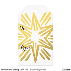 Personalized Trendy Gold Foil Star Festive Holiday Pack Of Gift Tags